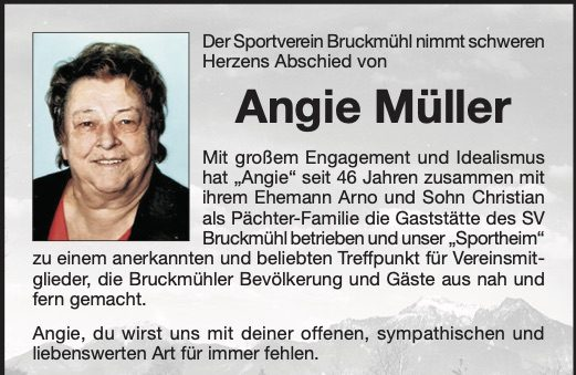 Nachruf Angie Müller
